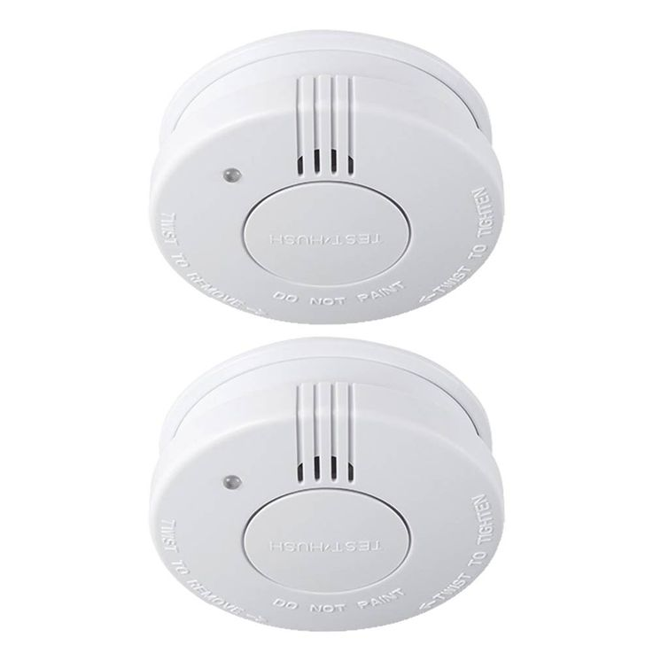 Set of 2 smoke detectors alarm sirens white fire sensors wireless battery blaze warner – Bild 1