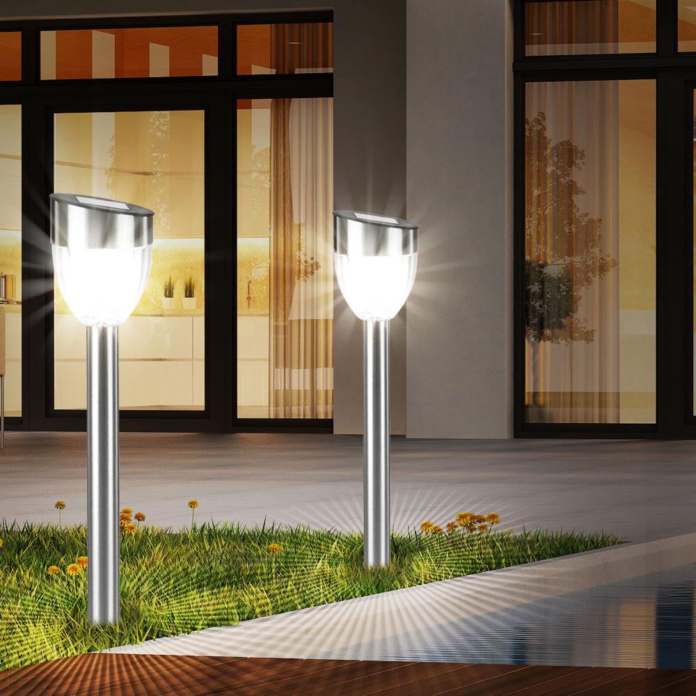 moderne led solarleuchten f r den garten im 6er set. Black Bedroom Furniture Sets. Home Design Ideas
