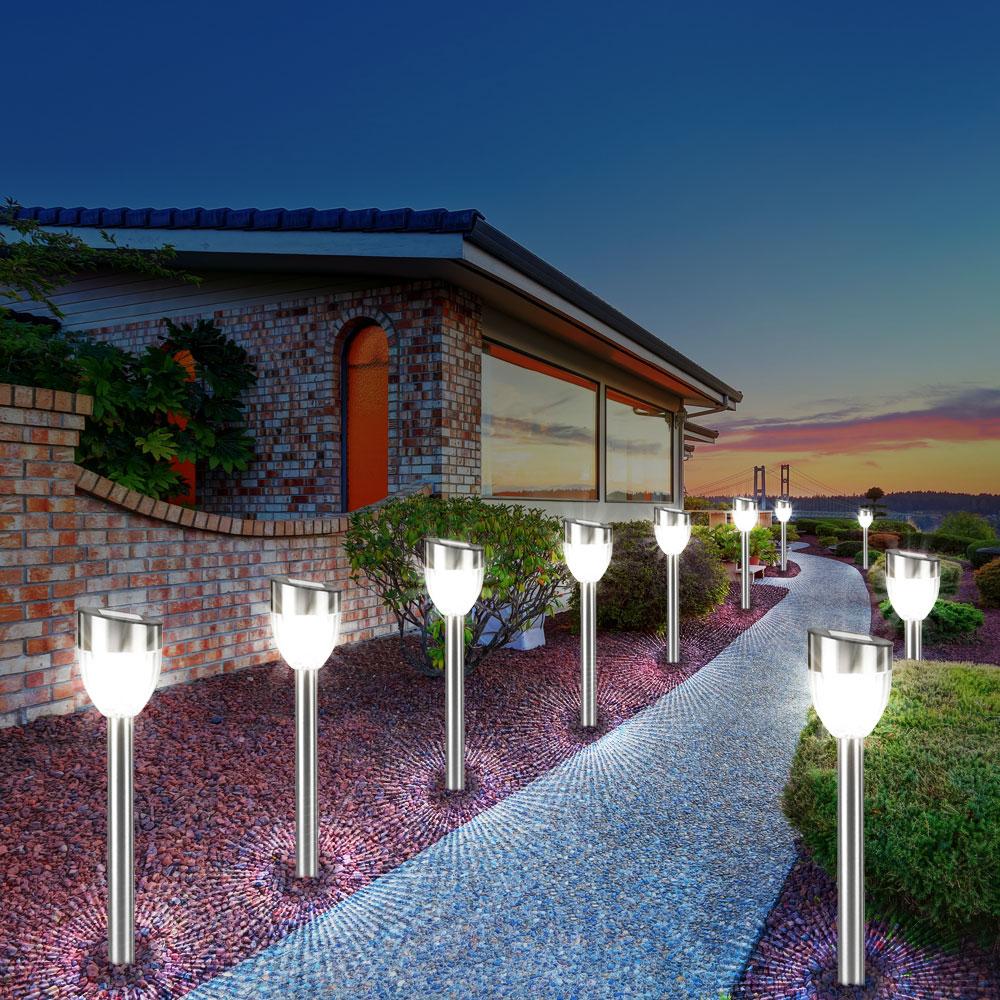 moderne led solarleuchten f r den garten im 6er set unsichtbar lampen m bel au enleuchten. Black Bedroom Furniture Sets. Home Design Ideas
