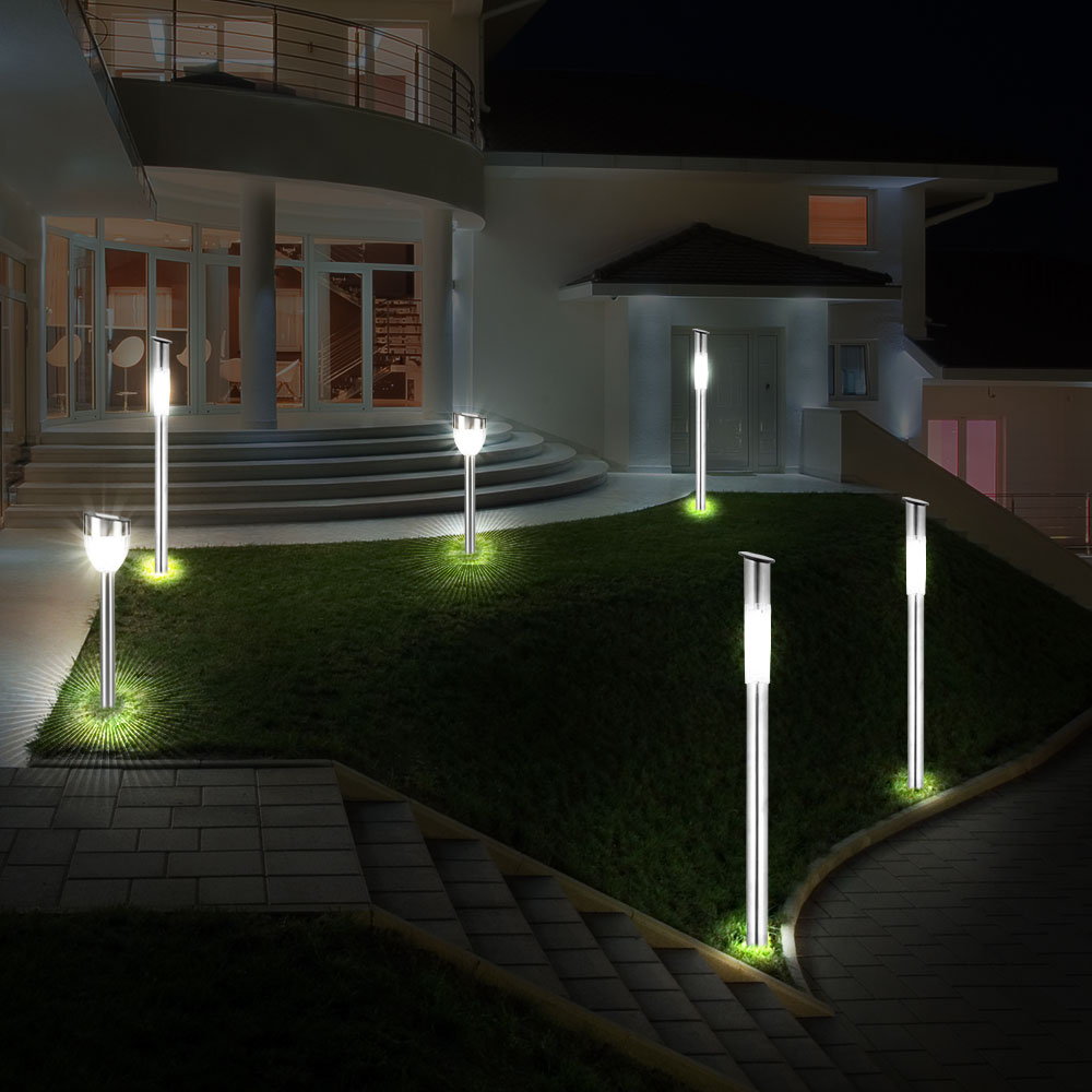 moderne led solarleuchten f r den garten im 6er set unsichtbar lampen m bel au enleuchten. Black Bedroom Furniture Sets. Home Design Ideas