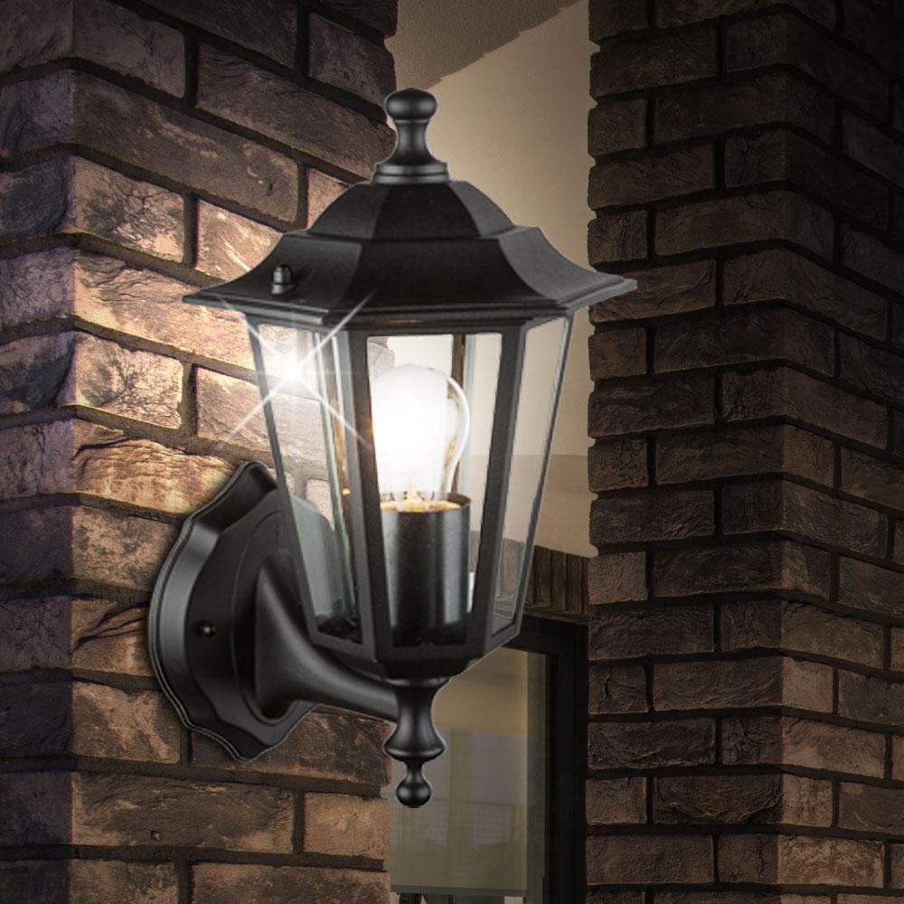 2er set au en laternen alu wand lampen garten beleuchtung glas strahler schwarz ebay. Black Bedroom Furniture Sets. Home Design Ideas