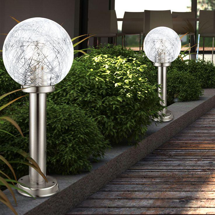 Außen Kugel Steh Lampe Edelstahl Glas Stand Leuchte Alu Garten Strahler silber Eglo 93553 – Bild 3