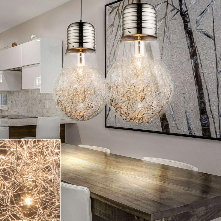 Design ceiling pendant lamp wire mesh glass lamp living room dining room lighting Globo 15037 – Bild 3