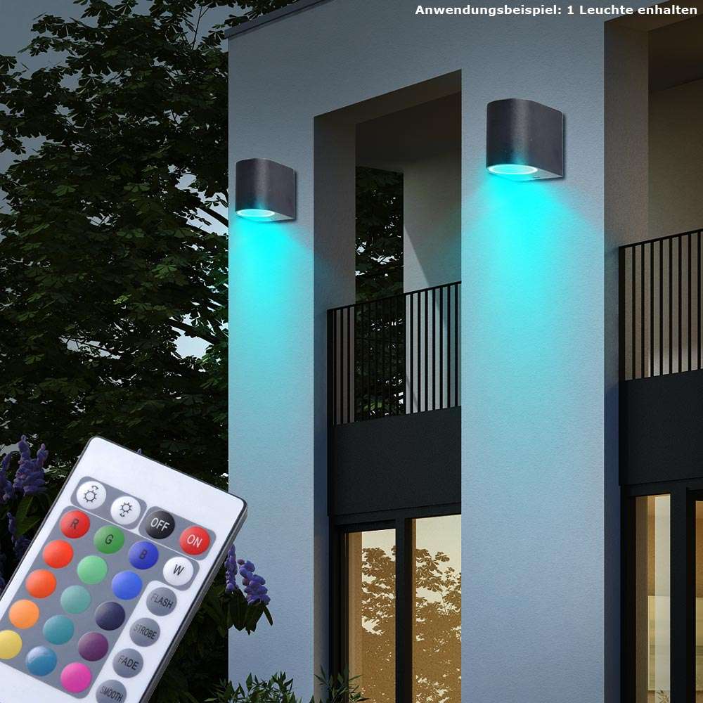 rgb led au en spot wand strahler lampe garten fernbedienung alu dimmbar up down ebay. Black Bedroom Furniture Sets. Home Design Ideas
