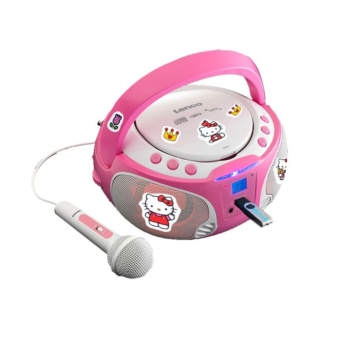 Girl Karaoke Stereo System Microphone USB CD Player Child Light Effect Set including Hello Kitty Sticker – Bild 1