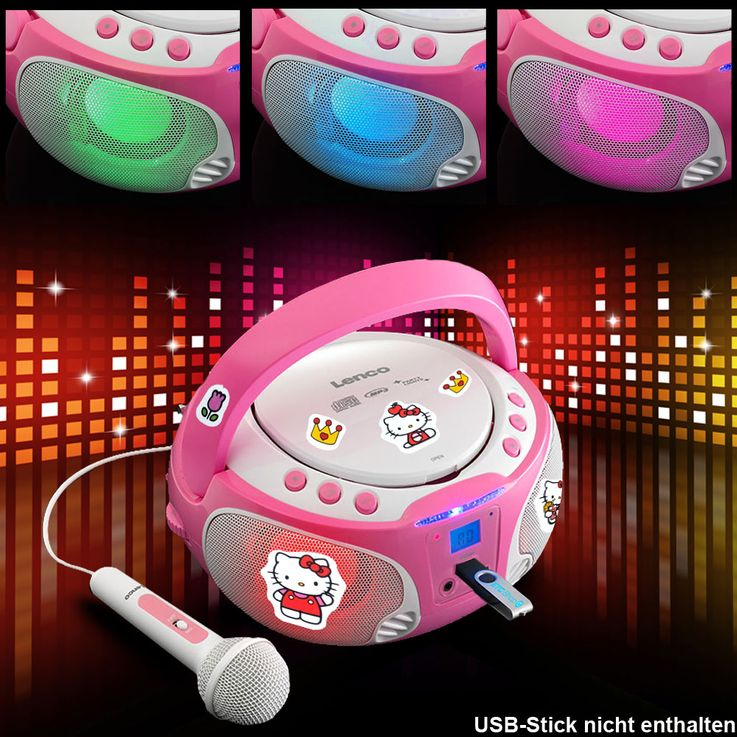 Girl Karaoke Stereo System Microphone USB CD Player Child Light Effect Set including Hello Kitty Sticker – Bild 2