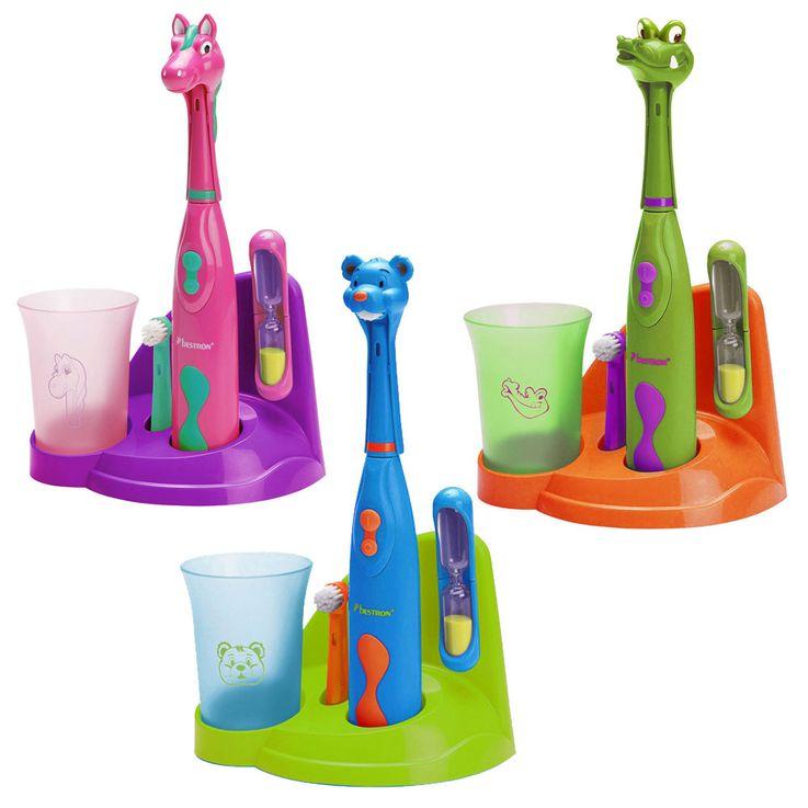 Children's toothbrush set with holder Bear horse crocodile design sand Clock cup cleaning hygiene – Bild 1