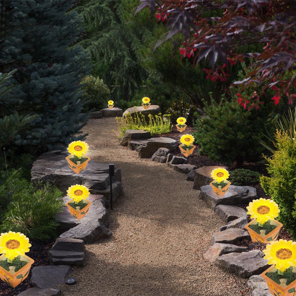 40 solar leuchten led sonnen blumen topf pflanzen garten for Garten deko leuchten