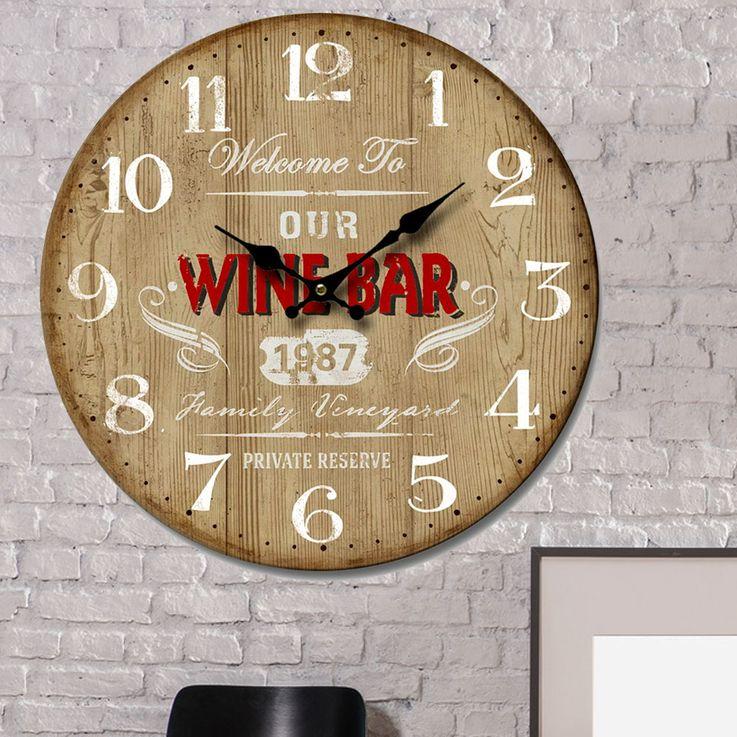 Wand Uhr Küchen Deko Holz Design Aufdruck weiß Analog Zeit Zeiger Anzeige rot BHP B991744 – Bild 2