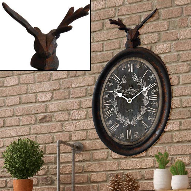 Landhaus Stil Wand Uhr Zeit Anzeige Hirsch Tier Figur Motiv rostfärbig Braun Antik Design BHP B991749 – Bild 2