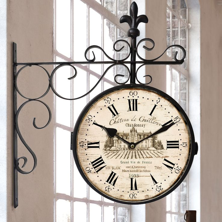 Vintage Station Wall Clock Antique Brown Red Living Room Decoration Time Display Digits BHP B991753 – Bild 2