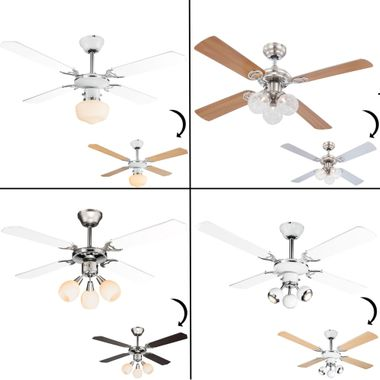 Fan ceiling fan light 3 stages cool warm chrome pull switch cooling living room – Bild 1