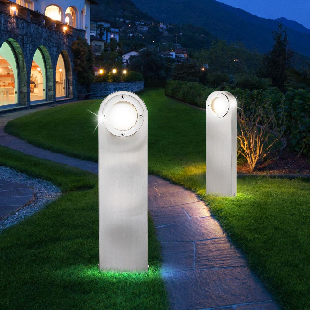 2er set led au en steh leuchten edelstahl garten beleuchtung glas stand lampen ebay. Black Bedroom Furniture Sets. Home Design Ideas