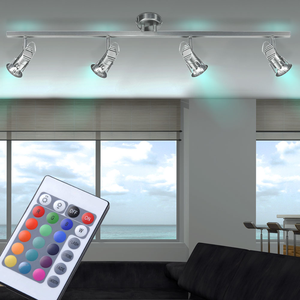 rgb led deckenleuchte mit beweglichen spots minit. Black Bedroom Furniture Sets. Home Design Ideas