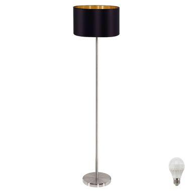 led stehlampe aus textil in schwarz gold maserlo lampen. Black Bedroom Furniture Sets. Home Design Ideas