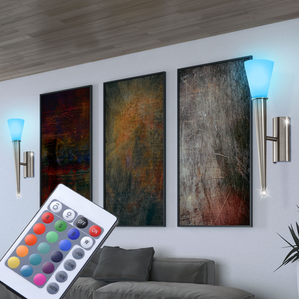2er set rgb led wand lampen fernbedienung ess zimmer glas fackel leuchten dimmer ebay. Black Bedroom Furniture Sets. Home Design Ideas