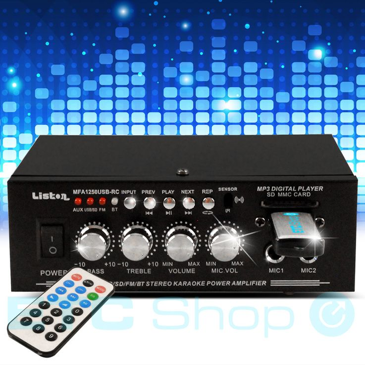 Karaoke Stereo Amplifier MP3 Bluetooth Partyanlage 50 W USB SD Remote Control – Bild 2