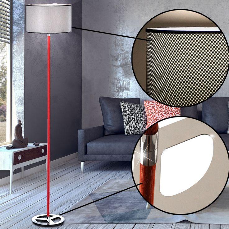 High quality chrome floor lamp lighting ceiling floodlight reading lamp spotlight textile trio 403400106 – Bild 3