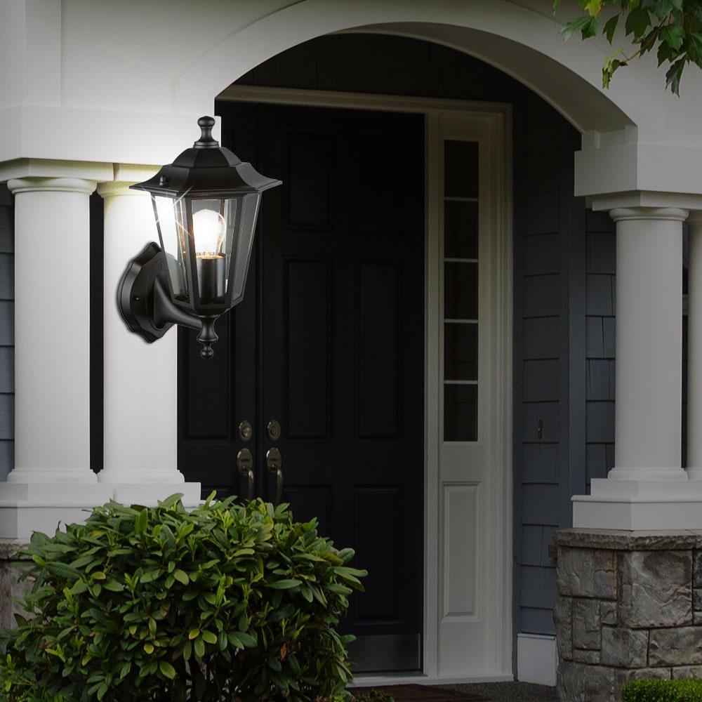 sockelleuchten terrassen garten wandlampen schwarz alu au en stehlaternen ip43 ebay. Black Bedroom Furniture Sets. Home Design Ideas