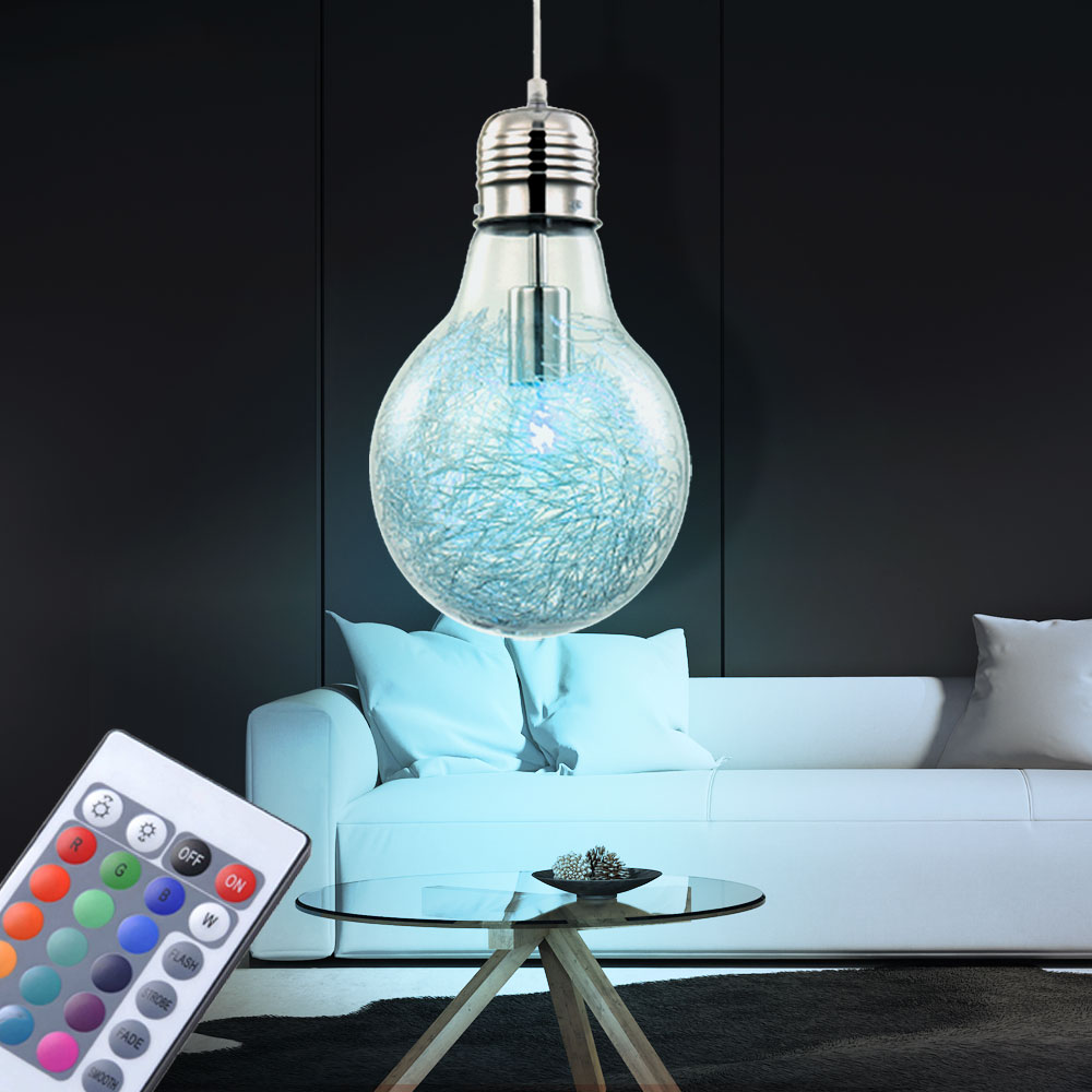 rgb led h ngeleuchte in gl hbirnen optik mit fernbedienung unsichtbar lampen m bel. Black Bedroom Furniture Sets. Home Design Ideas