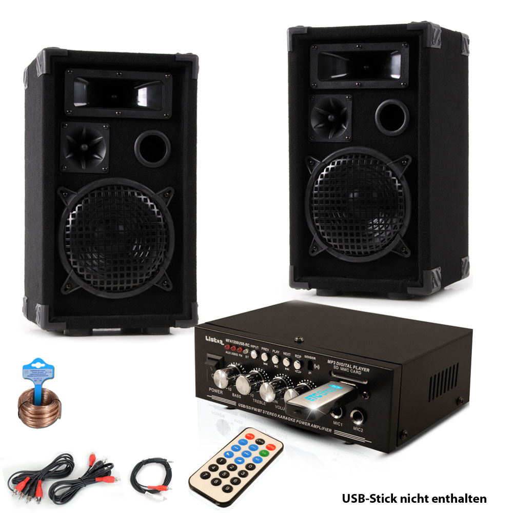 Compact music system with PA speakers and Bluetooth amplifier