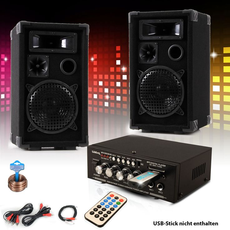 PA party compact stereo speakers amplifier USB MP3 SD Bluetooth DJ-Future – Bild 2