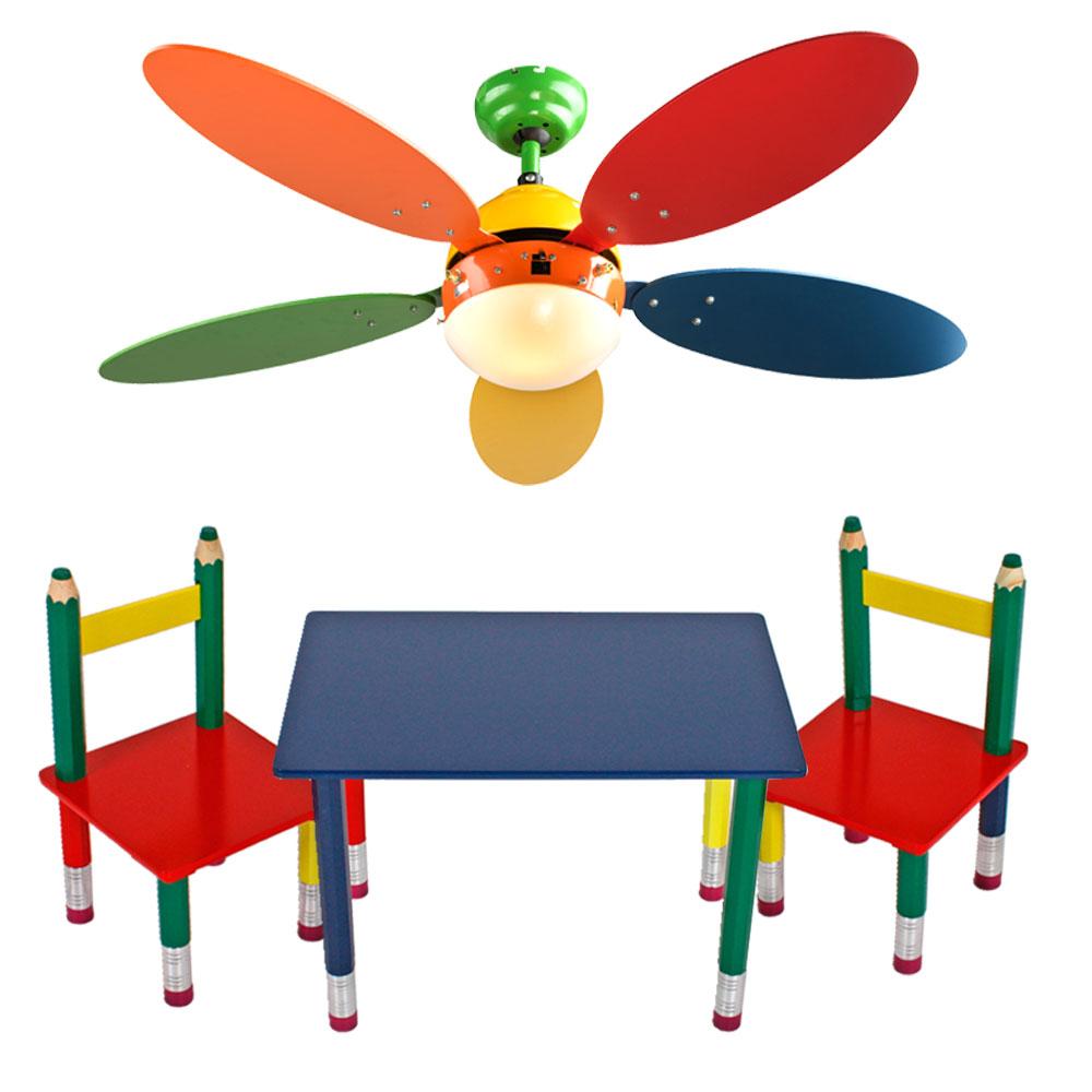 Set Aus Bunten Kinder Möbeln Mit Deckenventilator U2013 Bild 1