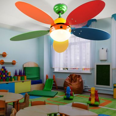 Children furniture set standing shelf solid wood ceiling fan switchable playroom lighting colorful – Bild 3