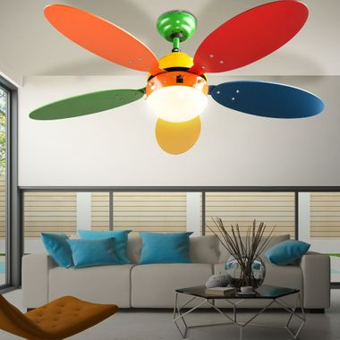 Children furniture set standing shelf solid wood ceiling fan switchable playroom lighting colorful – Bild 5