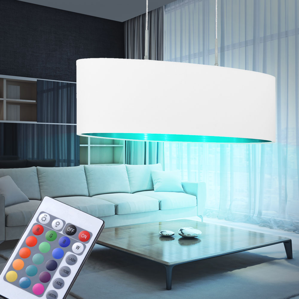lampe suspendue tissu led rgb telecommande salle manger suspension dimmable ebay. Black Bedroom Furniture Sets. Home Design Ideas