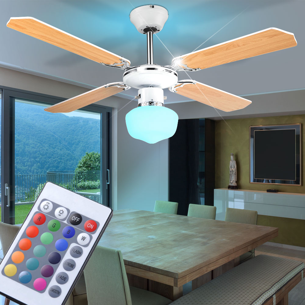 led decken ventilator wohn ess zimmer l fter rgb fernbedienung leuchte dimmbar ebay. Black Bedroom Furniture Sets. Home Design Ideas
