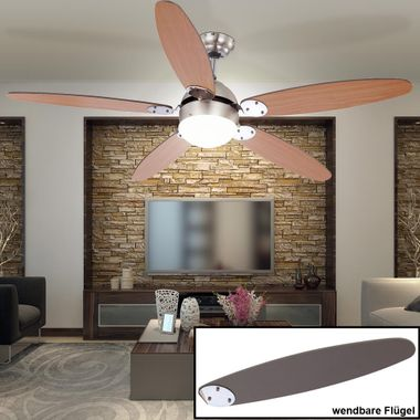 LED ceiling fan RGB remote control light dimmable pull switch residential sleep room radiator heater – Bild 3