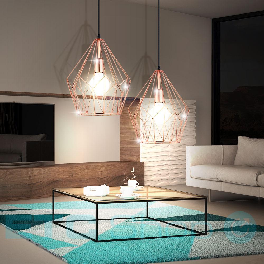 decken leuchte h nge wohnraum lampe metall k fig kupfer. Black Bedroom Furniture Sets. Home Design Ideas