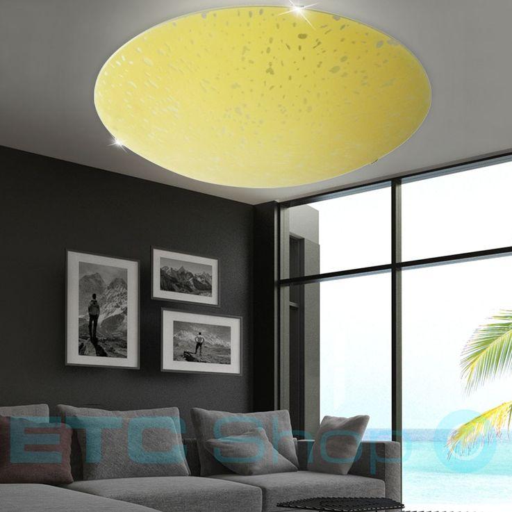 Hochwertige Decken Leuchte Glas Gelb E27 Beleuchtung rund Strahler Lampe Metall Eglo 32175 – Bild 3