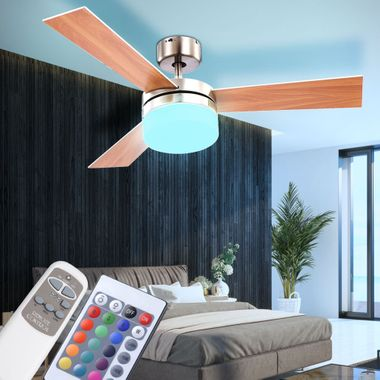 LED ceiling fan RGB remote control living room cooler lamp dimmable 3 stages heater fan – Bild 5