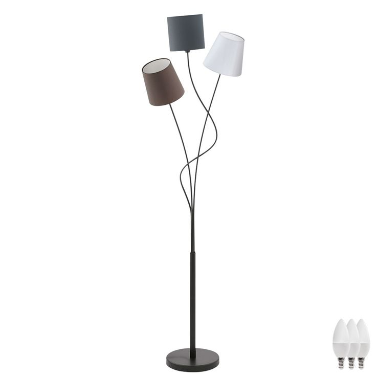 Design LED floor lamp with 3 textile screens – Bild 1