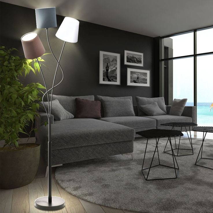 Design LED floor lamp with 3 textile screens – Bild 3