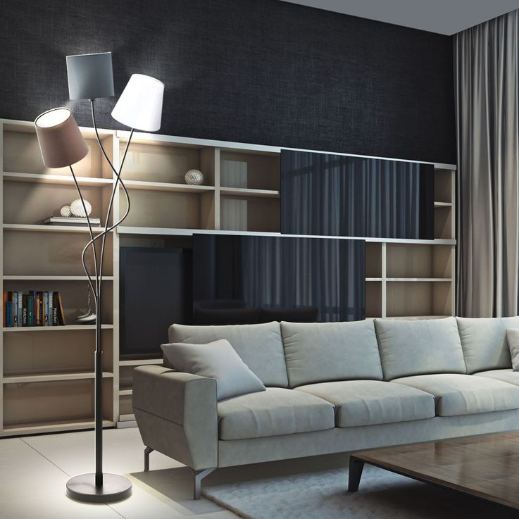 Design LED floor lamp with 3 textile screens – Bild 2