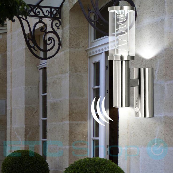LED Fassaden Wand Lampe Edelstahl Hof Glas Leuchte Spirale Bewegungsmelder Eglo 94209 – Bild 3