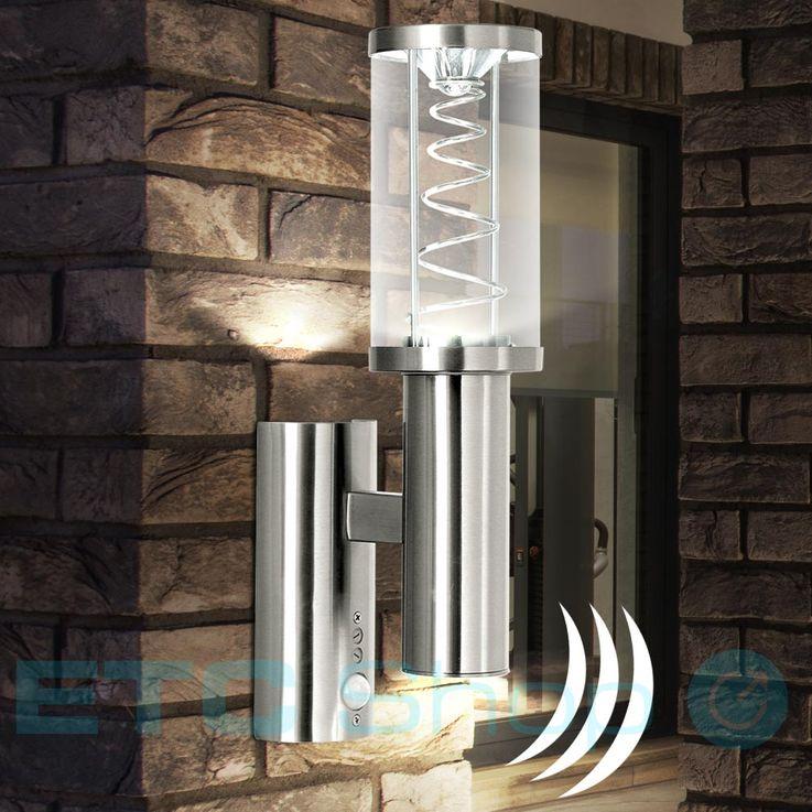 LED Fassaden Wand Lampe Edelstahl Hof Glas Leuchte Spirale Bewegungsmelder Eglo 94209 – Bild 2
