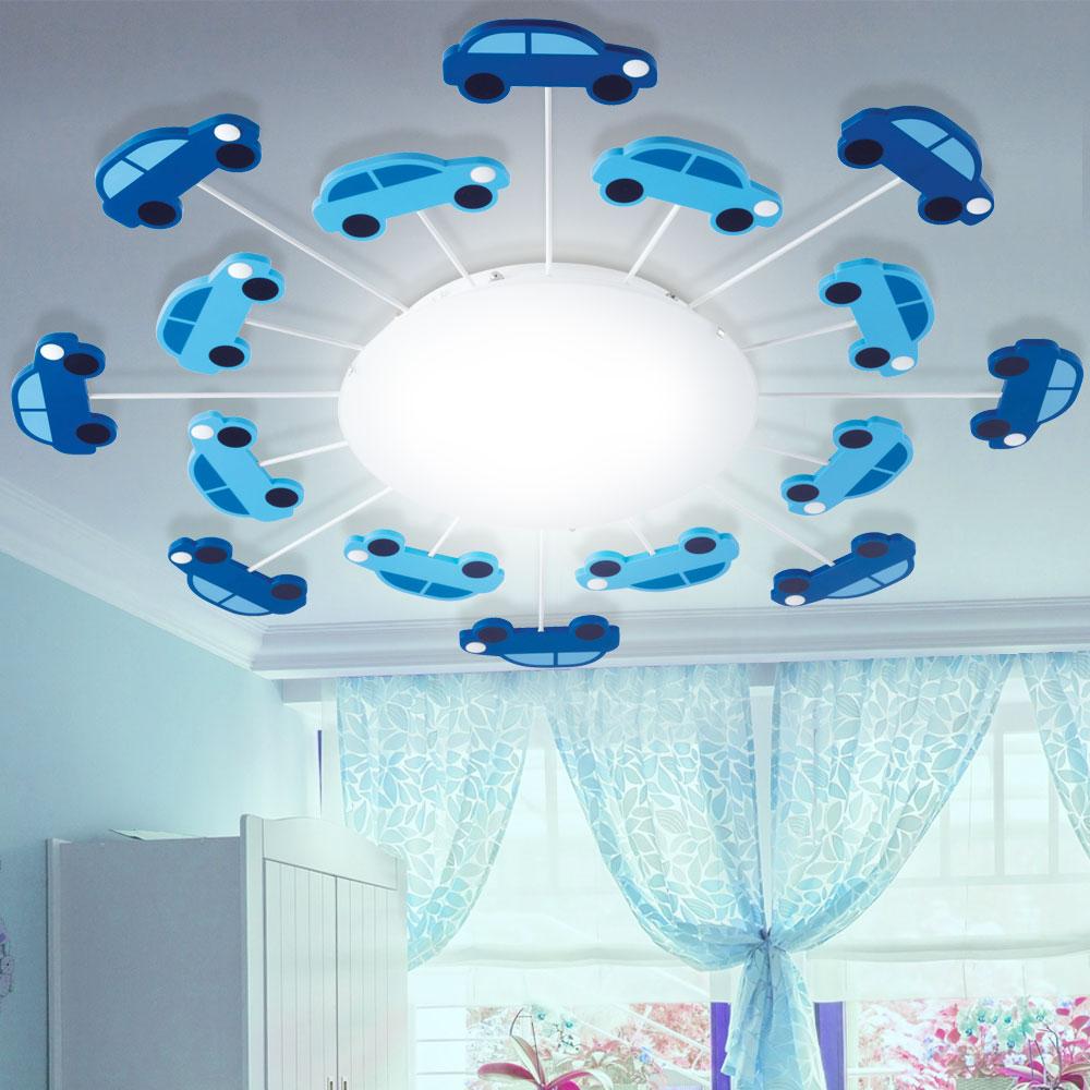 kinder decken lampe jungen spiel zimmer beleuchtung auto wand glas leuchte blau ebay. Black Bedroom Furniture Sets. Home Design Ideas