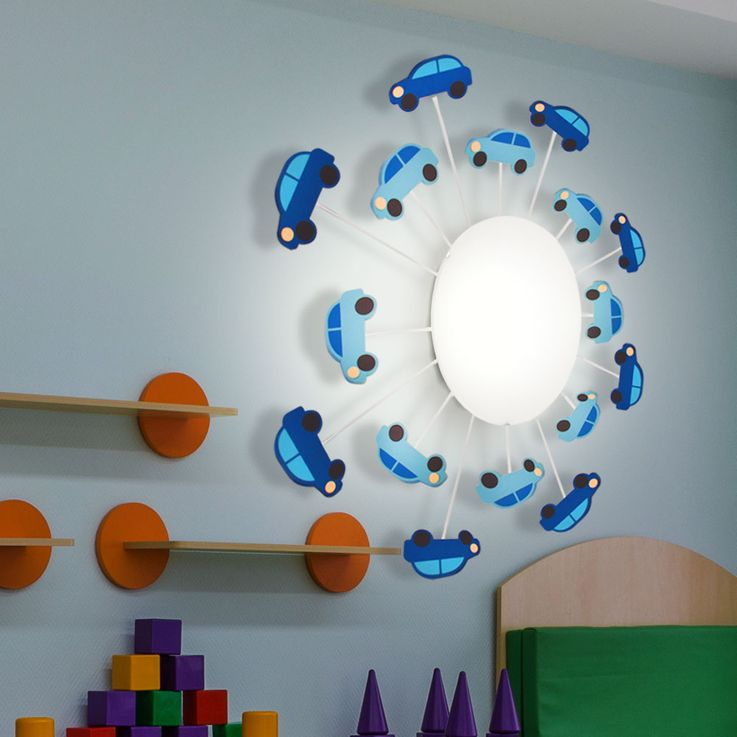 Ceiling Light Children Playroom Glass Lighting Car Light Blue Micasa 4203.651.000.40 – Bild 3
