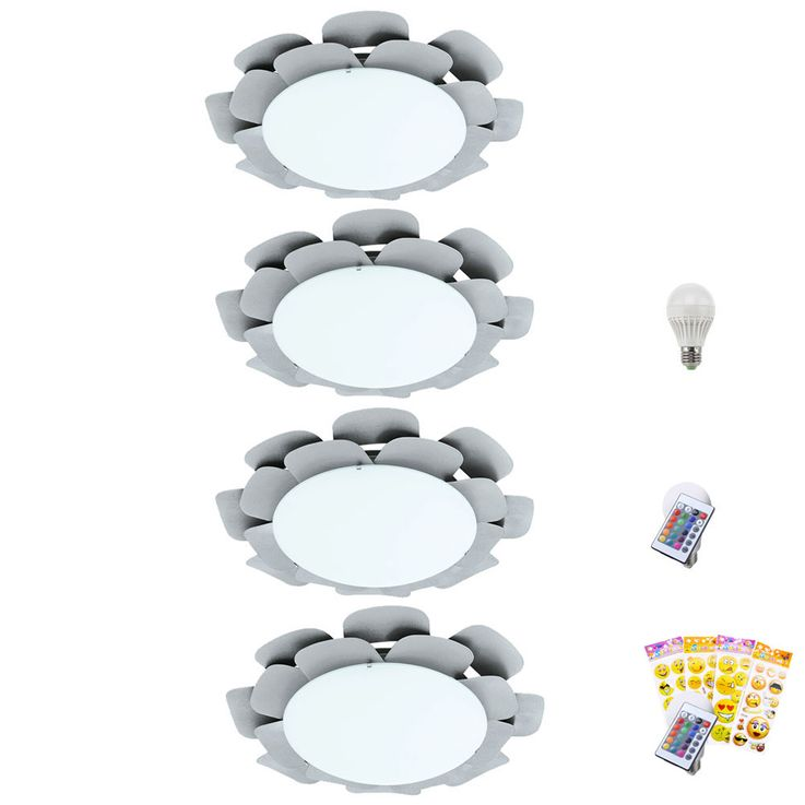 RGB LED ceiling and wall light in silver floral design – Bild 1