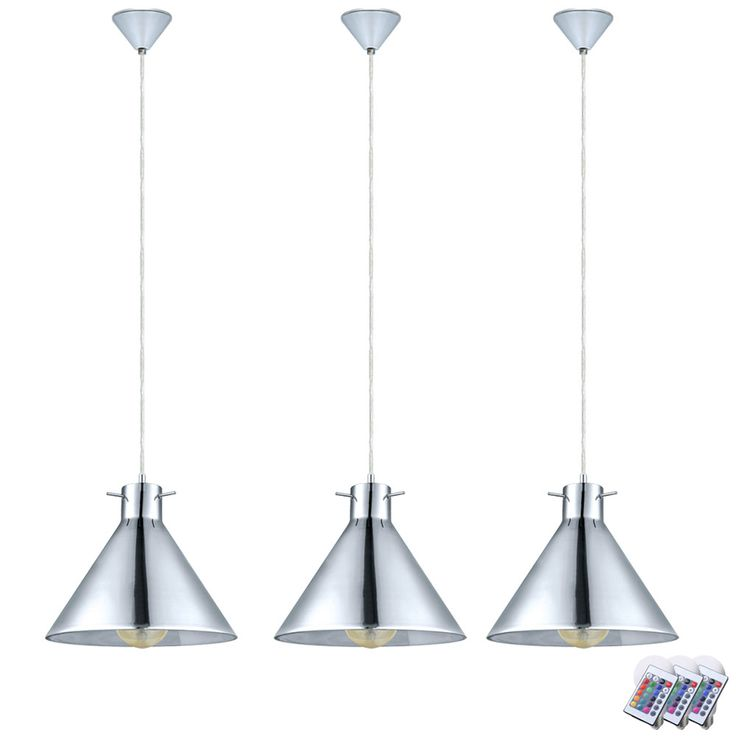 Set of 3 RGB LED hanging lights in glass and chrome BRIXHAM – Bild 1