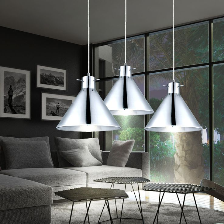 Set of 3 RGB LED hanging lights in glass and chrome BRIXHAM – Bild 6