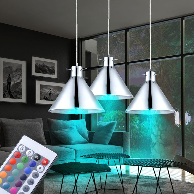 Set of 3 RGB LED hanging lights in glass and chrome BRIXHAM – Bild 2