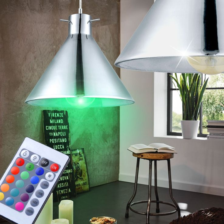 Set of 3 RGB LED hanging lights in glass and chrome BRIXHAM – Bild 7