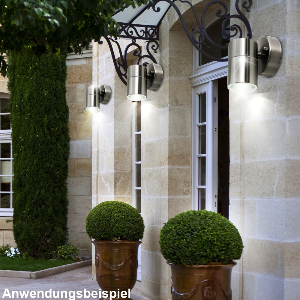 3er set led edelstahl wandlampen f r ihren au enbereich unsichtbar lampen m bel au enleuchten. Black Bedroom Furniture Sets. Home Design Ideas