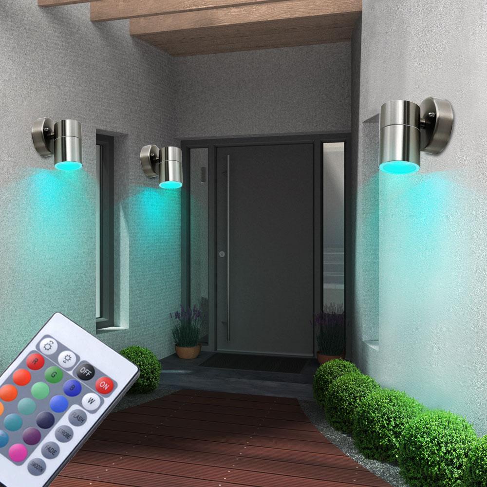 3er set rgb led edelstahl wandstrahler mit fernbedienung. Black Bedroom Furniture Sets. Home Design Ideas