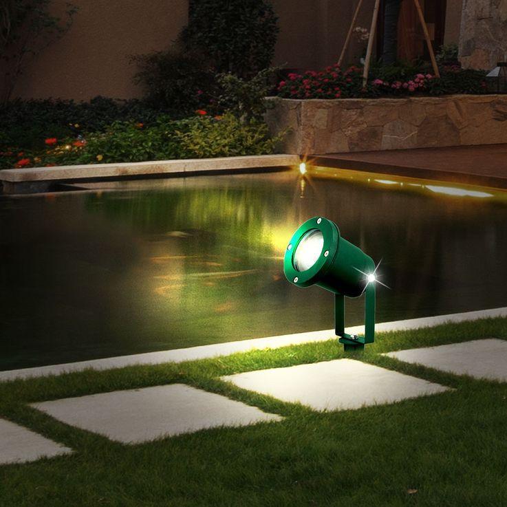 4er Set LED Außensteckleuchten in grün für Ihren Garten  – Bild 6